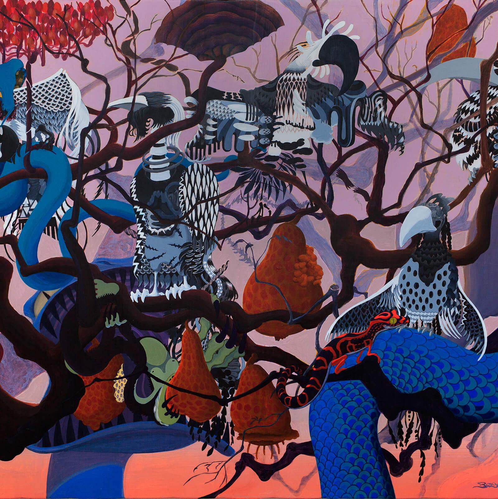 Birds of Gun | Acrylic on canvas 610×730 (mm) 2012