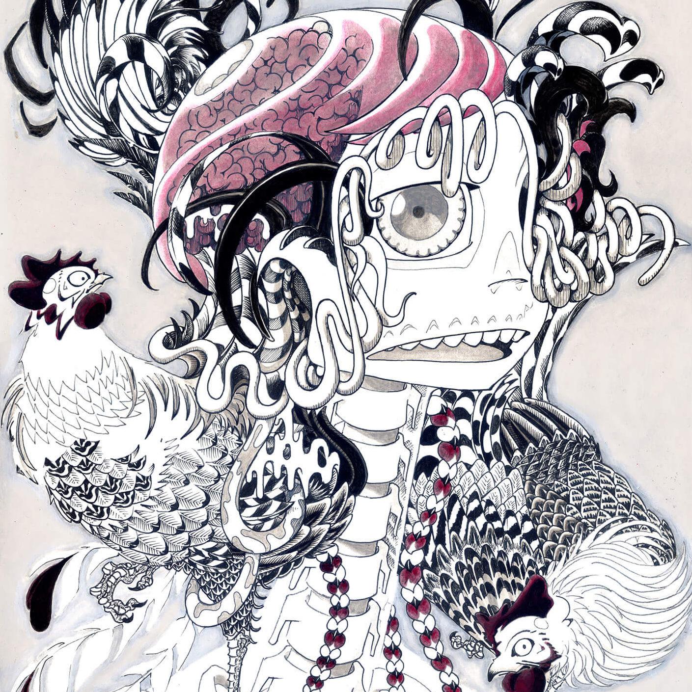 若冲少女 -JAKUCHU Girl- | Ink and Acrylic on paper 420×298 (mm) 2013