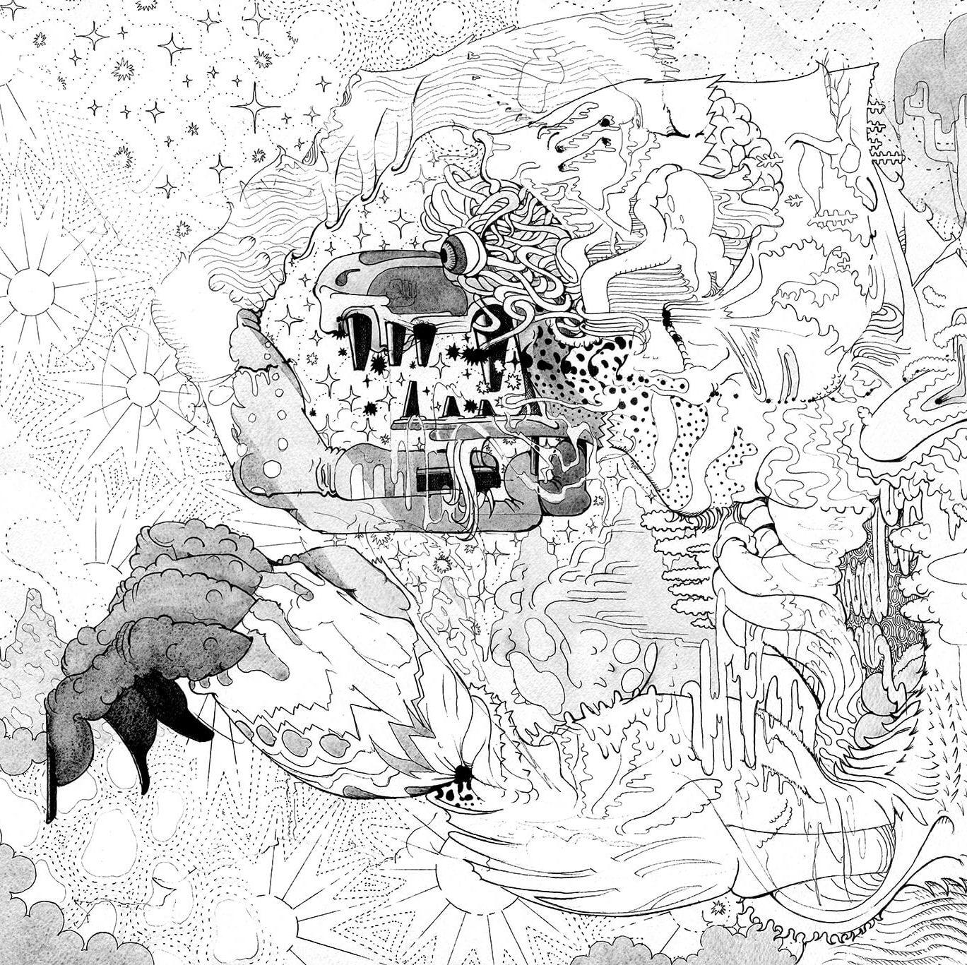 白猿 -White Monkey- | Ink and Acrylic on paper 404×558 (mm) 2014