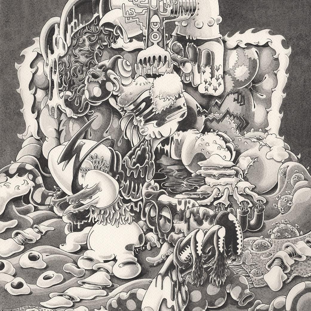 リビングの王様 -Bedroom King- | Ink and Acrylic on paper 945×315 (mm) 2020
